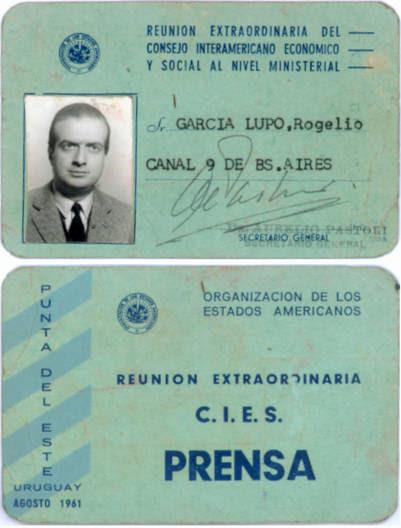 "La credecial de ""Parajito"" en la cumbre de la OEA a la que asistió el Che Guevara."