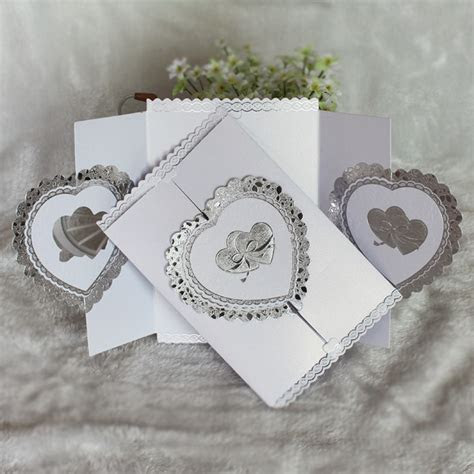 Wholesale Gold Silver Foil Heart Cover Wedding Invitation