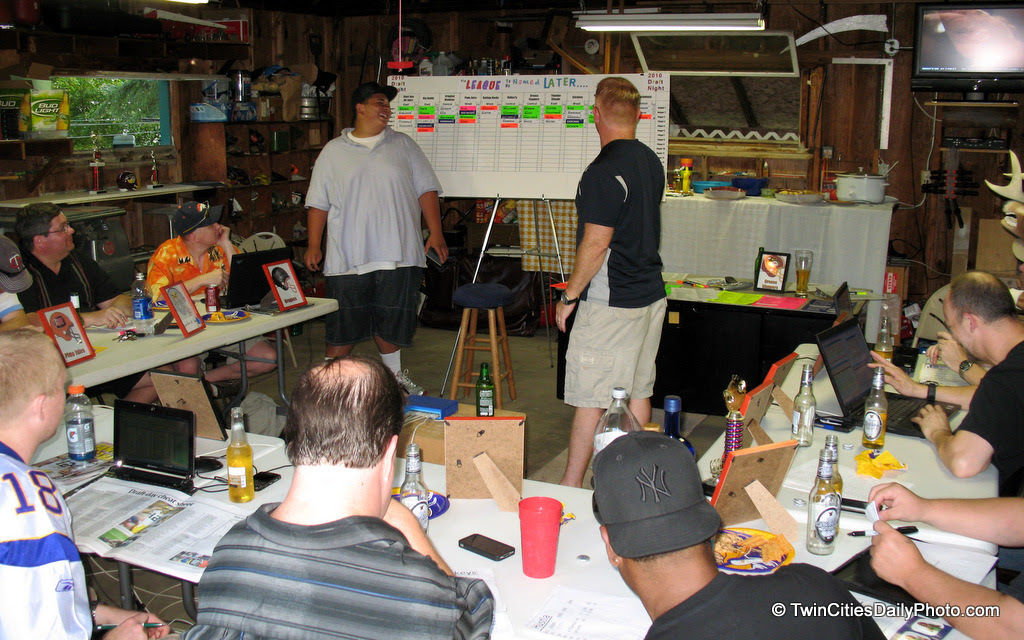 Friday evening was the 5th annual, Fantasy Football draft night held in my garage. You're getting an exclusive look into the best run, fantasy league held in the Twin Cities. Now I must pay homage to the commish of the now defunct, Apple Valley Football League, as my league is based upon the previously best run fantasy football league in the Twin Cites.