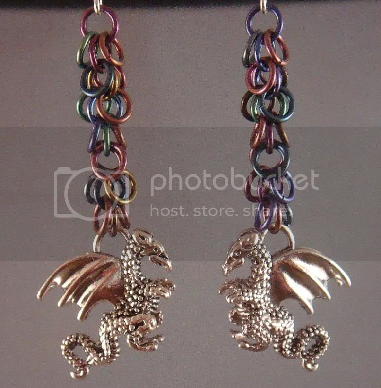 Rainbow Niobum and Silver Dragon Earrings
