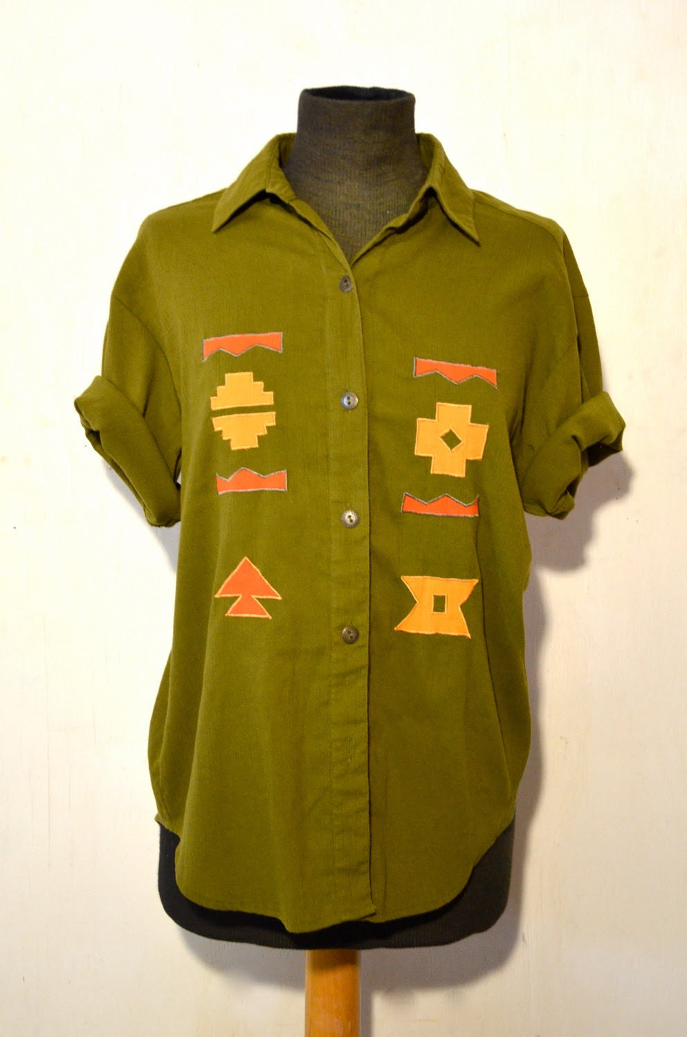 Vintage Women's Army Green Two Piece Blouse Shirt and Skirt 1980s small medium
