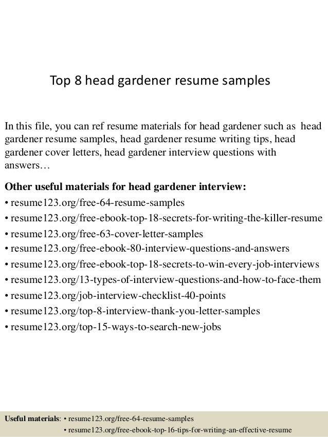 Top 8 Head Gardener Resume Samples