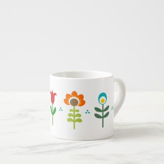 Pretty Retro folk flowers Espresso Cup