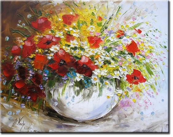 Malarstwo Z Kwiatami Bukiet Polnych Kwiatów Mazaje