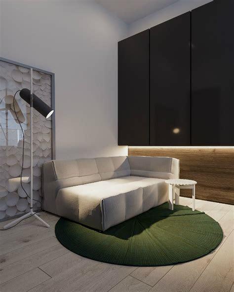 minimalistische schwarz und innen weiss gold interieur holz