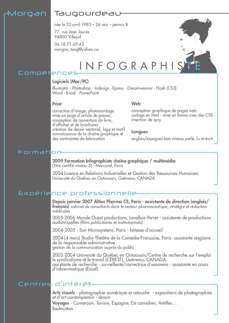 resume format  modele de cv canadien francais