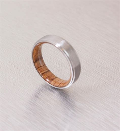 Titanium And Olive Rings // Mens Wood Rings //wood Wedding