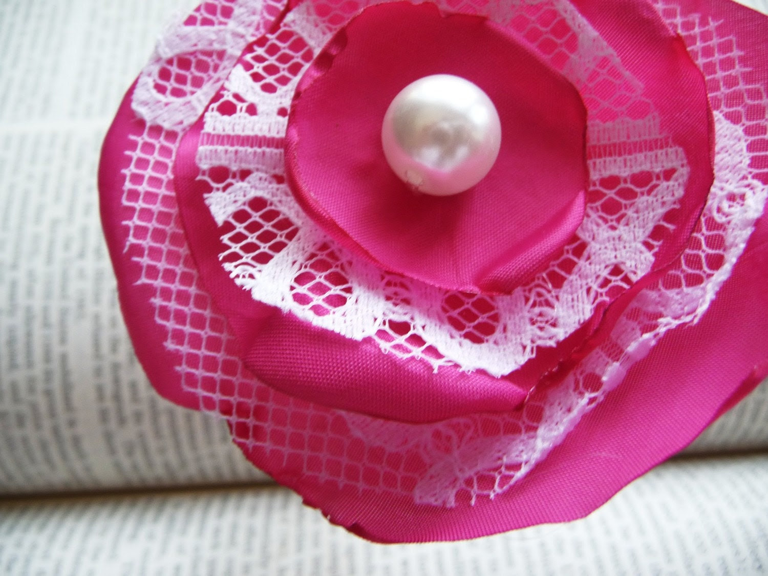 Bright Pink Flower with Lace Hair Clip