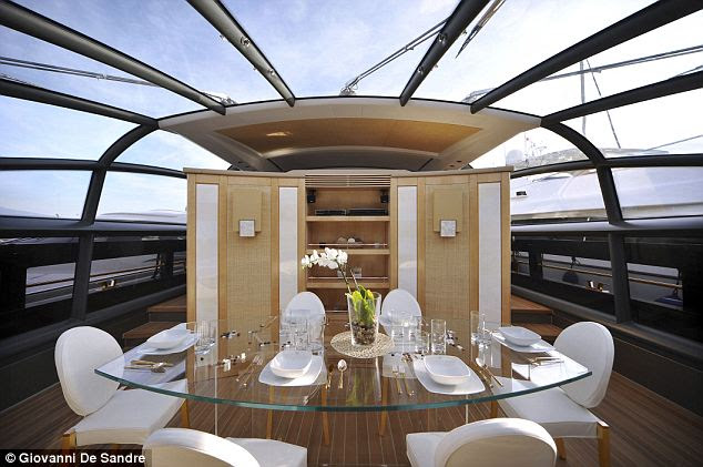 Hungry for extravagance: The yacht naturally features an exquisitely designed dining area