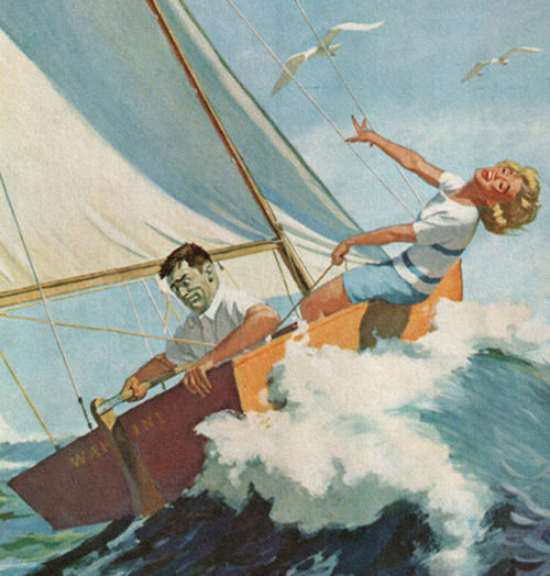 """A Life On The Ocean Wave, A Home On The Rolling Deep"" art by Dick Sargent - detail from cover of Saturday Evening Post - August 22, 1959.  Happy Saturday Folks!!"