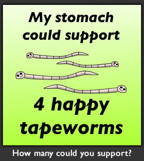 How many tapeworms could live in your stomach?