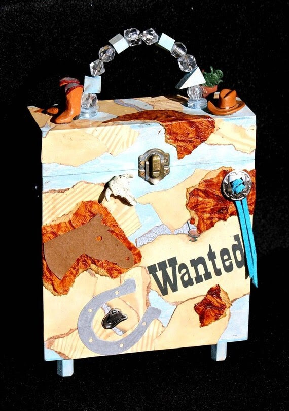 Whimisical Western Altered Decorative Box - By Artist Jan Mollet Evans - SIGNED