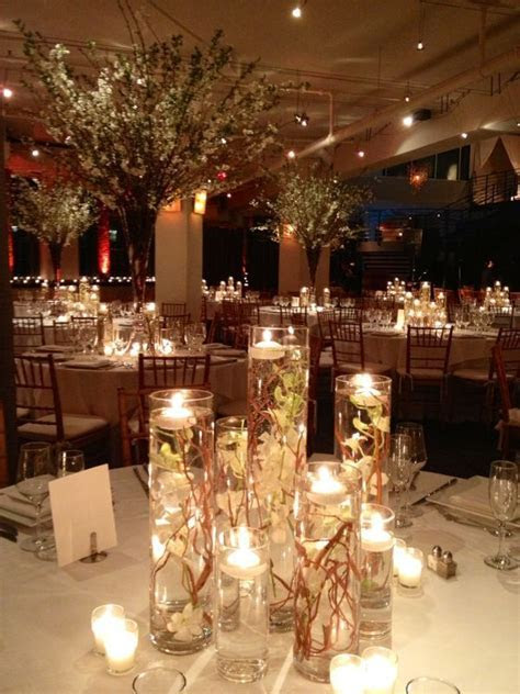 Cylinder vases with floating Candle Centerpiece and