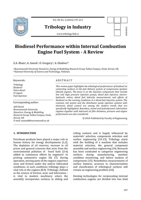 (PDF) A Review of Biodiesel Performance within Internal
