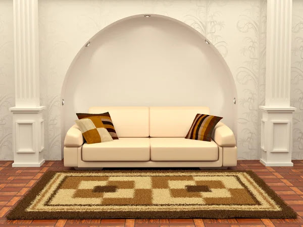 Inteiror. Sofa between the columns in white room | Stock Photo ...