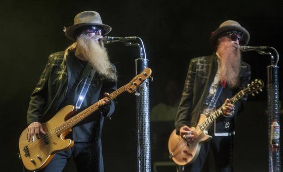 Dusty Hill (left) and Billy Gibbons of ZZ Top brought their Texas-boogie blues to an almost-full Starlight Theatre on Saturday.