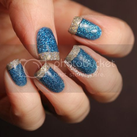 Blue Sparkle Nail Art