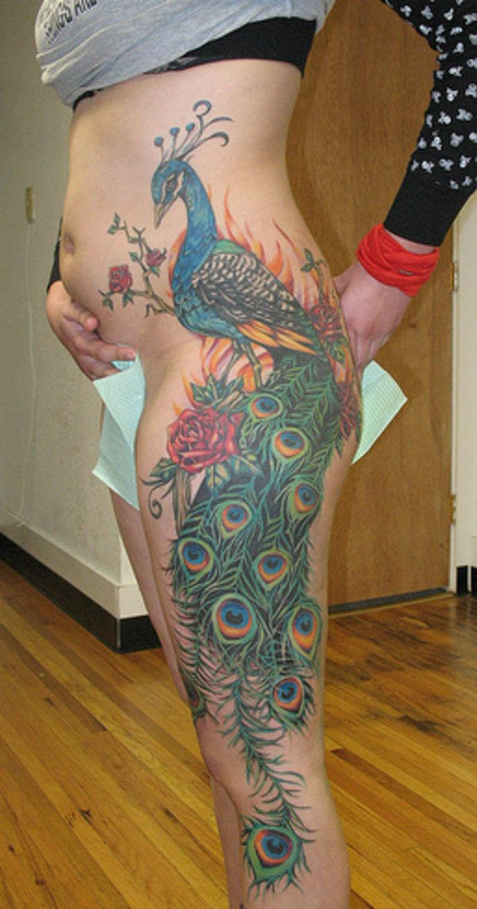 Peacock Pics Tattoo On Side Stomach And Thigh