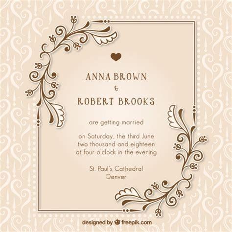Vintage wedding invitation with floral details Vector