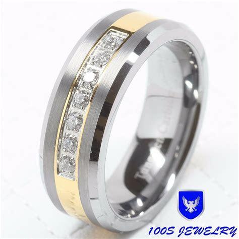 Mens Tungsten Ring Diamond Inlay Center Brushed Wedding