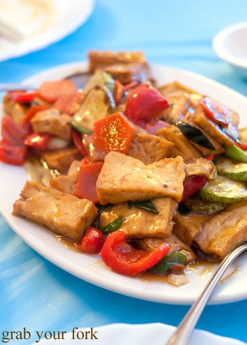 stir fried tofu and vegetables at Berezka Restaurant, Russian Club, Strathfield