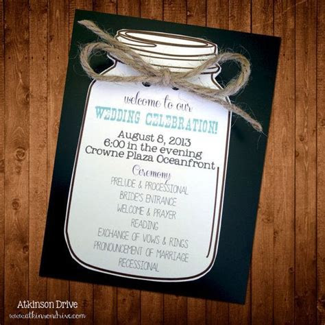 custom mason jar wedding program wedding ideas