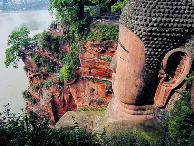Bow in Front of The Leshan Giant Buddha, Worlds Biggest Buddha Statue