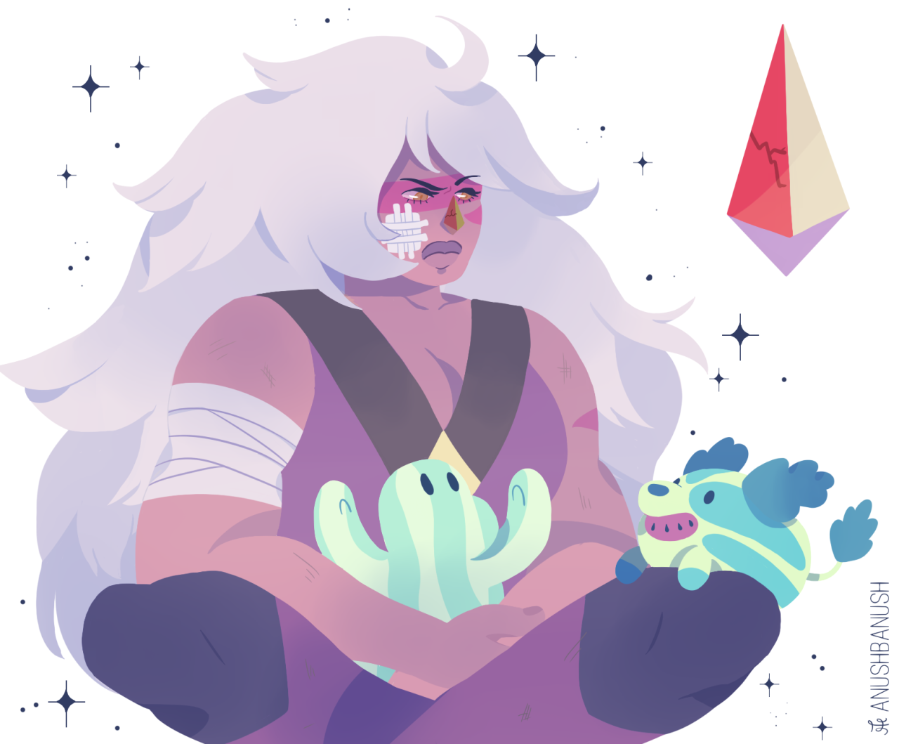 Some Jasper doodles I really hope that the watermelon stevens find her and help her out. And if it's true that her gem is cracked, I can see the watermelon stevens putting a band aid on it to cover...