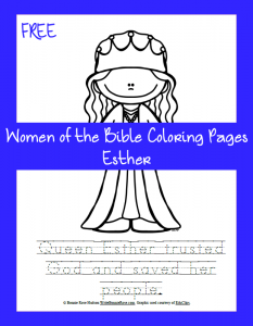 free women of the bible coloring pageesther
