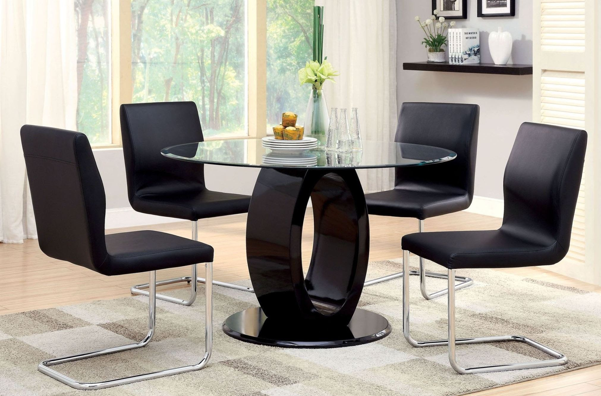 Lodia I Black Glass Top Round Pedestal Dining Room Set ...