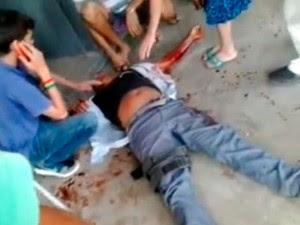 Cabo da Polícia Militar aposentado foi atingido por um tiro no peito em escola de Mossoró (Foto: Reprodução/Vídeo)