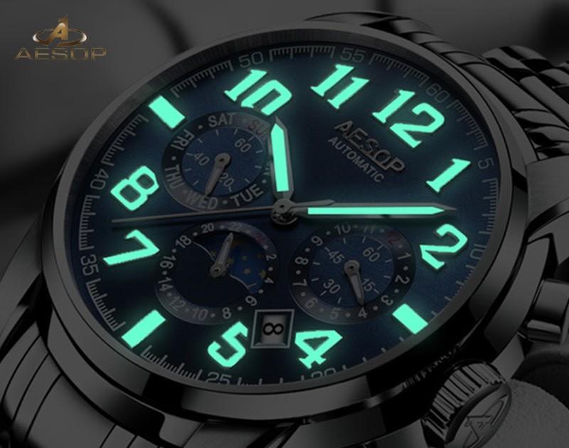 01d66d23d72 Comprar Esopo Relógio De Luxo Homens Automáticos Mecânicos Relógios Pulso  Marca Topo Dos Luminosos Sub dials 3 6 Mãos Masculino Relogio Baratas  Online Preço ...