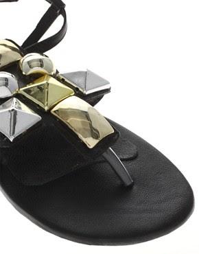 Image 2 ofPark Lane Leather Large Stud Sandal