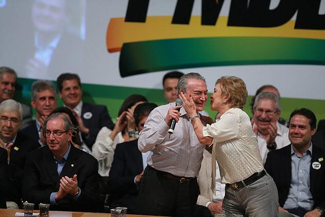 Senadora Marta Suplicy durante cerimônia que celebra sua filiação ao PMDB