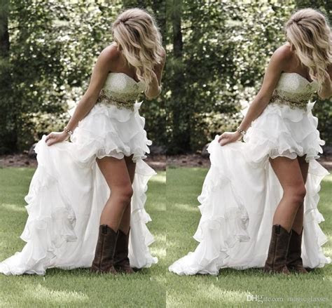 Discount Modest High Low Country Style Wedding Dresses