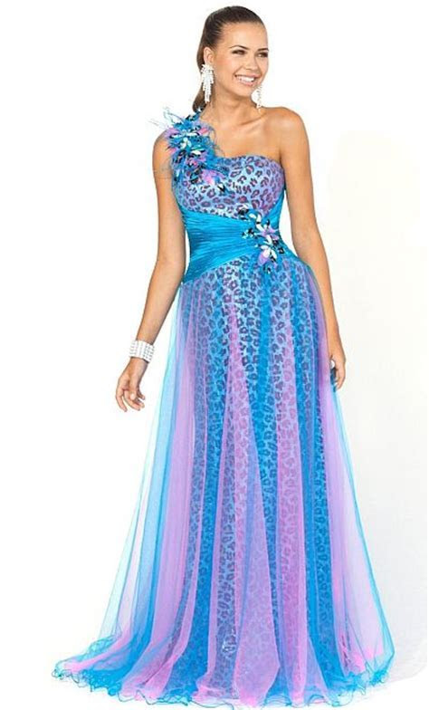 2012 Pink by Blush Prom Blue Purple Animal Print Ball Gown