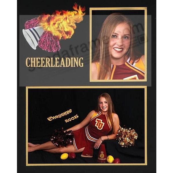 Cheerleading Team 7x53½x5 Memory Mates Cardstock Double Photo Frame