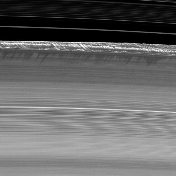 Vertical structures cause shadows on Saturn's B ring in this August 2009 picture from the Cassini spacecraft. Credit: NASA/JPL/Space Science Institute