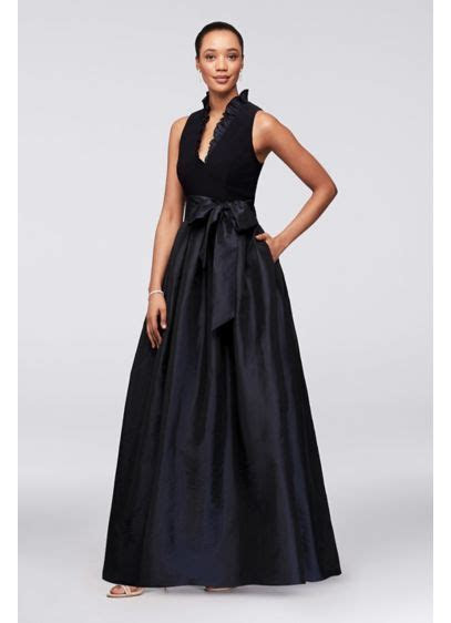 Sleeveless Taffeta Ball Gown with Ruffled V Neck   David's