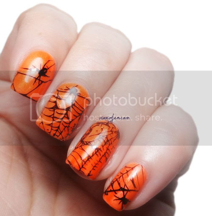 xoxoJen's Halloween nail art - spiderwebs