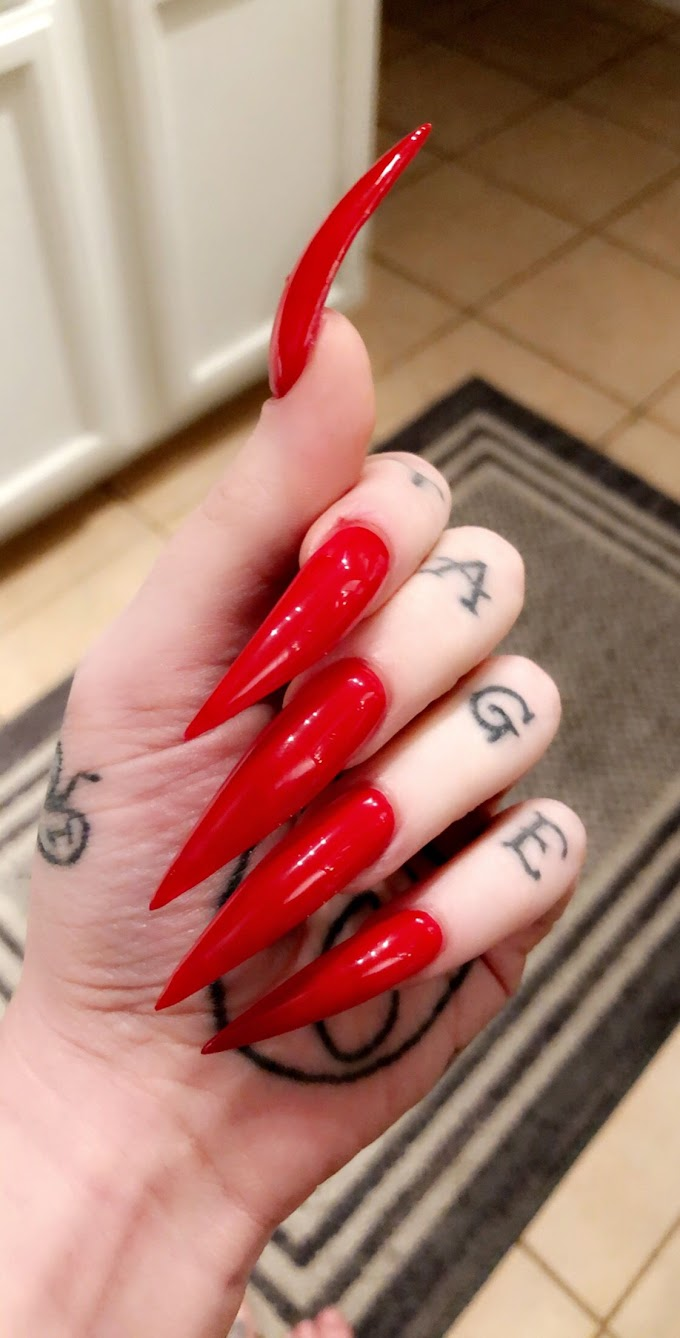Sharp Long Stiletto Nails With Rhinestones