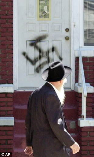Anti-Semitism remains prevalent around the world, with one in four adults expressing anti-Jewish sentiment, according to a new study. Above, anti-Semitic graffiti in Brooklyn