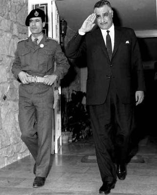 Libyan revolutionary leader Muammar Gaddafi and President of Egypt Gamal Abdel Nassar together in the aftermath of the Al-Fateh Revolution of 1969 in Tripoli.  US imperialism and NATO are bombing the North African state in 2011. by Pan-African News Wire File Photos