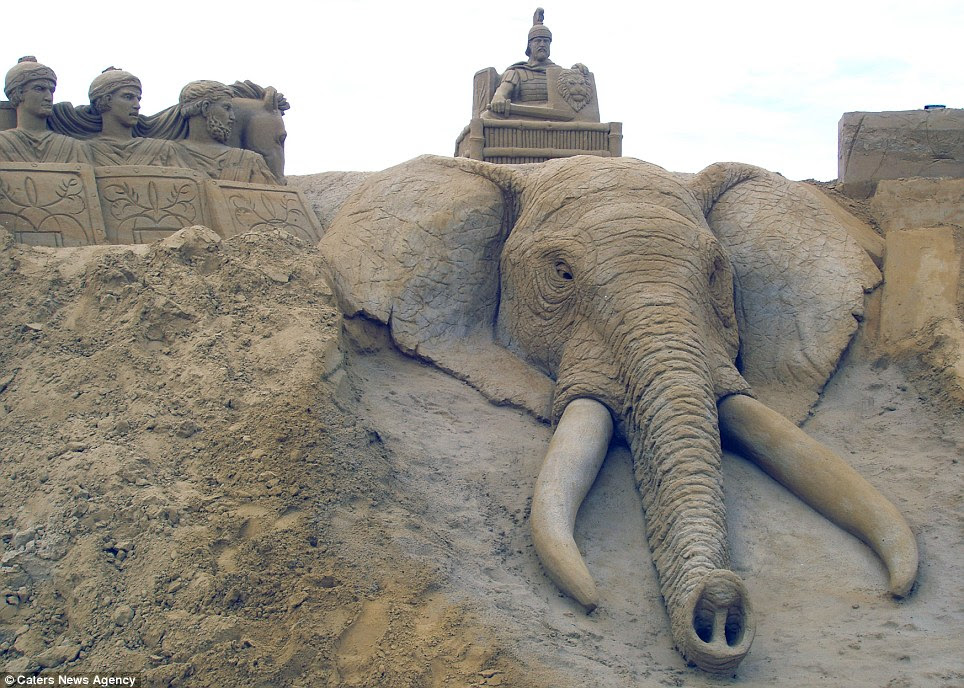Amazing detail: The spectacular sculpture of this elephant shows every wrinkle in its skin