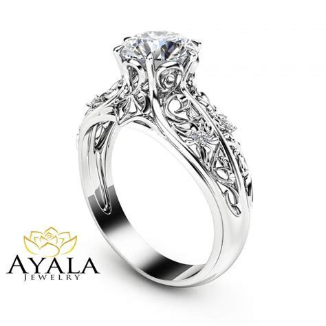 Unique Engagement Ring 14K White Gold Diamond Ring