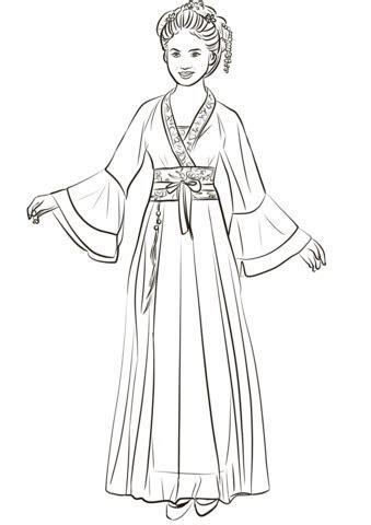 Chinese Woman Wearing Traditional Hanfu Wedding Dress