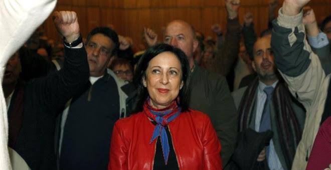 Margarita Robles en el acto en Madrid de los militantes del PSOE que piden la celebración del Congreso y las primarias / EFE