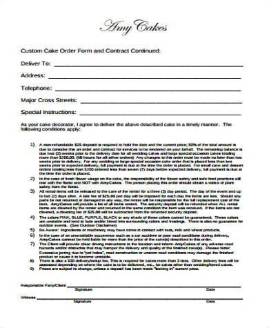 7  Cake Order Form Sample   7  Examples in Word, PDF