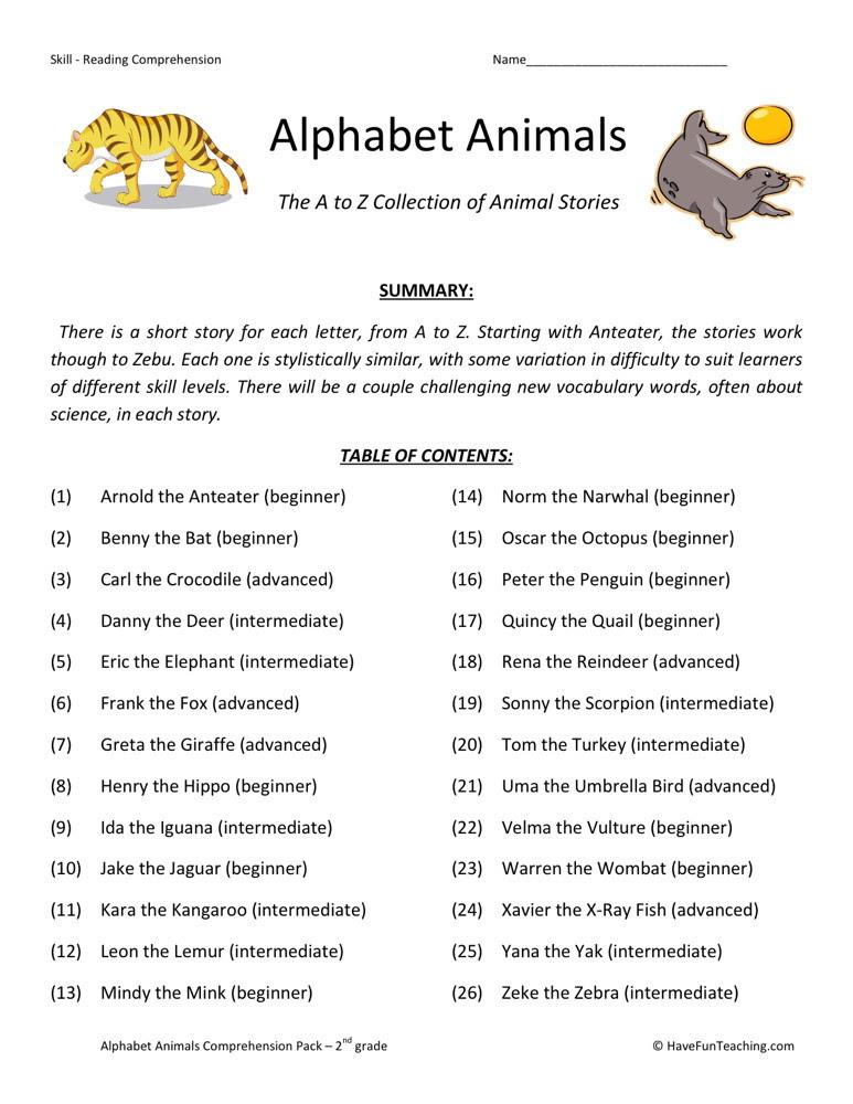 Reading Prehension Worksheet Alphabet Animals Collection