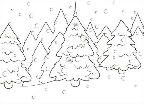 Dibujo De árbol De Navidad En El Bosque Para Colorear Dibujos Para